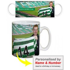 Celtic Personalised Manager's MugSign for Celtic & Become the Next Celtic Park Superstar.    Your name and number is merged onto the shirt held by Neil Lennon as you sign for Celtic. Displayed on a quality, durable mug, this superb full-colour design is guaranteed to make you the envy of the office.    Height: 90mm.  Width: 80mm. Celtic Fc, Sports Gifts, Your Name, Gifts For Boys, The Office, Superstar, Envy, Names, Football