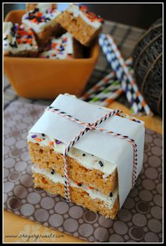 Pumpkin Spice Rice Krispie Treats // no pumpkin but I like the way it's wrapped