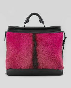 Ryder Goat Fur Satchel Bag, Pink/Black by 3.1 Phillip Lim at Neiman Marcus.