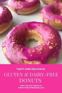 These gluten and dairy-free baked donuts are a fun dessert for Valentines Day. Make a bright pink dairy-free icing and sprinkle with gold dust and you a perfect gluten-free Valentines treat. Gluten Free Donuts, Gluten Free Baking, Gluten Free Recipes, Dairy Free Icing, Donut Baking Pan, Donut Glaze, Baked Donuts, Donut Recipes, Fun Desserts