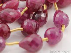Natural Genuine Ruby AA Quality Precious Gemstones, Rich Small Long / Straight Drill Tear Drops 4x7mm, 1 Full Strand, (RBY4x7TearLD)