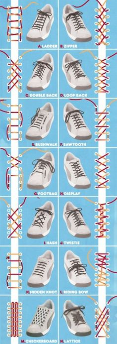Tips & Tricks: 14 Ways to Tie your Shoelaces MIGHT FIND ONE TO EASE PRESSURE ON SENSITIVE NERVE SITES