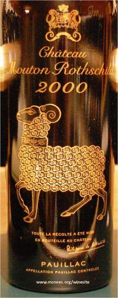 Château Mouton Rothschild 2000 - Pauillac / Bordeaux / France. Average Score : 95,99/100 (16 critics)