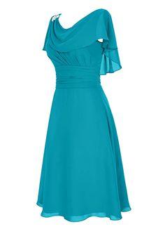 Dresstells Short Prom Dress Cowl Bridesmaid Dress Chiffon Mother of Bride Dress Burgundy Size 2