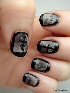 DIY halloween nails: DIY Halloween nail art : Graveyard