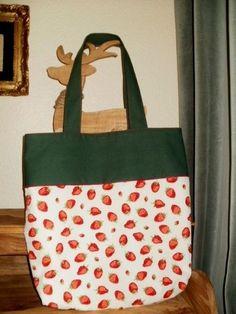 Tasche, Shopper, Einkaufstasche, Erdbeeren, selbst genäht, Unikat
