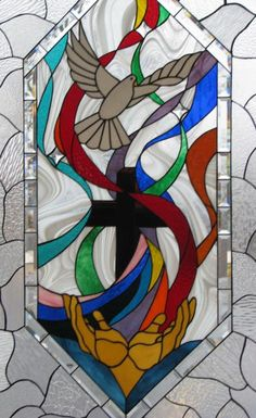 5) God the Holy Spirit - Dove - Kent Lutheran Church, Sunrise Beach, MO (Lake of the Ozarks) by Les & Sandy Burnett  - GlassMoose.com (formerly Art-Attack-Studios)