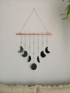 Black Silver and Copper Clay Moon Phases Wall Hanging. Copper Wall decor, Bohemian neutral nursery decor Wall hanging, Modern Black Silver and Copper Clay Moon Phases Wall Hanging. Copper Wall decor, Bohemian neutral nursery d Cute Room Decor, Nursery Decor, Bedroom Decor, Cozy Bedroom, Cool Wall Decor, Design Bedroom, Bedroom Ideas, Diy Para A Casa, Copper Wall Decor