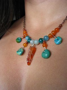 Bohemian Honey Amber, Turquoise, Aventurine and Orange Jade necklace with copper $36.00