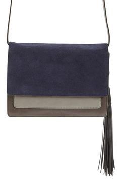 ALLSAINTS 'Belle' Colorblock Leather & Suede Clutch with Tassel. #allsaints #bags #shoulder bags #clutch #lace #suede #hand bags #