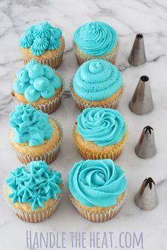 Fondant Cupcakes, Cupcake Frosting Tips, Fun Cupcakes, Birthday Cupcakes, Frosting Recipes, Buttercream Frosting, Cupcake Recipes, Cupcake Cakes, Lemon Cupcakes
