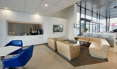 Custom client coffee and refreshment bar within car dealership design and fitout. Beth Israel, Commercial Office Design, Office Fit Out, Kitchen Office, Portfolio Design, Kitchens, Bar, Interior Design, Coffee