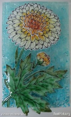 Chrysanthemum. Glass fusing