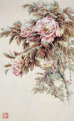 Peony Drawing, Peonies And Hydrangeas, Oriental Flowers, Art Chinois, Paper Artwork, China Art, Botanical Illustration, Botanical Drawings, Japan Art