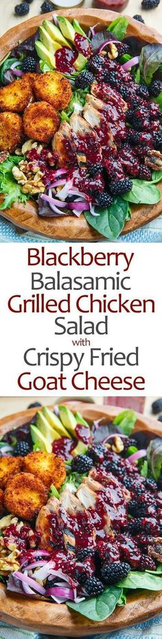 Blackberry Balsamic Grilled Chicken Salad with Crispy Fried Goat Cheese | Posted By: DebbieNet.com