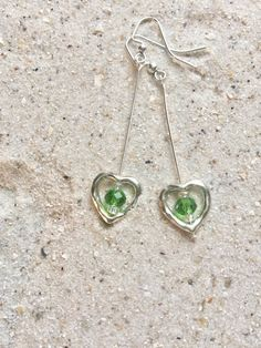 Peridot Sterling Silver Heart Earrings, Handmade Jewellery present for the one you love, simple Silver Earrings, Birthday gift for Sister