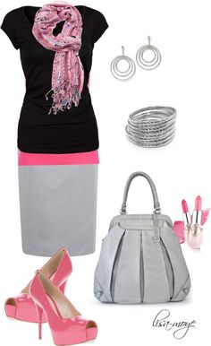 """Splash of pink"" by lisa-moye on Polyvore"