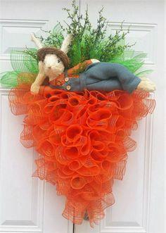 Easter Carrot Wreath  Easter Door Decor  by StudioWhimsybyBabs