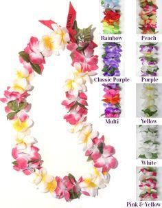 SIX Hawaiian Hawaii Silk Flower Lei Hula Luau Party Wedding GREEN LEI QTY 6 LEIS