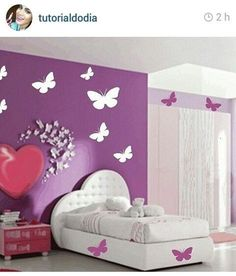 32 Funky Home Decor That Look Fantastic - Home Decoration - Interior Design Ideas Bedroom Wall, Bedroom Furniture, Bedroom Decor, Bedroom Ideas, Girl Bedroom Designs, Girls Bedroom, Bedrooms, Funky Home Decor, Little Girl Rooms