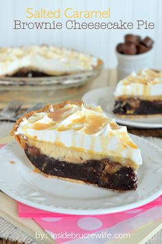Three layers of salted caramel goodness in one brownie pie!  You need to try this pie!!!