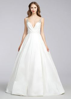 Jim Hjelm Style 8668- Ivory Silky Taffeta bridal Ball gown, V-neckline, draped bodice, accented with crystal straps, natural waist, side pockets,  scoop back, sweep train