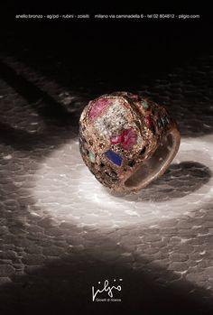 anello: bronzo - interno in ag/pd - rubini grezzi - zoisite - diamanti