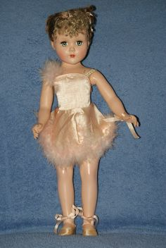 "17"" Vintage Arranbee Nanette Ballerina Hard Plastic With Floss Hair"