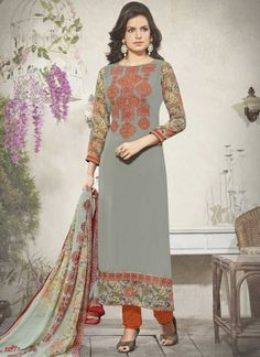 Grey Orange Embroidery Work Georgette Silk Designer Fancy Churidar Printed Suit http://www.angelnx.com/Salwar-Kameez/Churidar-Suits
