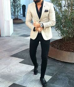 Ivory Mens Wedding Suits Groom Tuxedos Groomsmen Suits Black Pants Business Wear Coat Pants One Button Terno Masculino Prom Party – [pin_pinter_full_name] Ivory Mens Wedding Suits Groo… Mens Fashion Suits, Mens Suits, Men's Fashion, Fashion Quotes, Winter Fashion, Black Groomsmen Suits, Stylish Men, Men Casual, Blazer Outfits Men