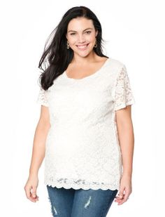 Plus Size Elbow Sleeve Lace Maternity Top