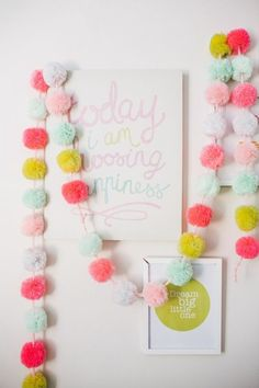 diy spring, diy spring project, diy home decor, diy pompom, diy pom pom garland Kids Crafts, Diy And Crafts, Craft Projects, Arts And Crafts, Felt Crafts, Cute Diy Projects, Kids Diy, Preschool Crafts, Easter Crafts