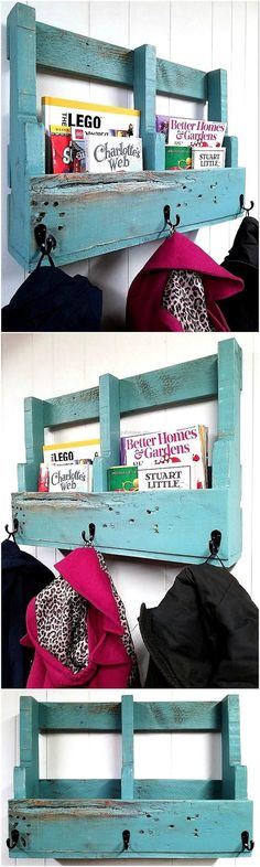 If you are going to make something to fulfill the hanging need, then consider adding something to it which fulfill another requirement as well just like this rustic upcycled wood pallets shelving plan, which offers the place to store books as well as hanging the coats.