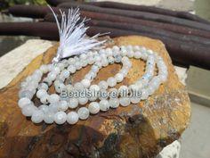 White Rainbow Necklace 6mm 108 Rainbow Round Beads Natural Rosary Necklace Japa Mala