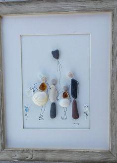 Pebble art family4, Family4 wall art, family4 portrait, pebbleart, home gift, home living, new home family, birthday family gift,