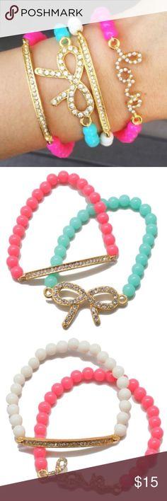 Pave Bow, Love and Bar Bead Bracelet Set Set includes 4 bracelets:  1 Love bracelet, 1 Bow bracelet and 2 bar bracelets. T&J Designs Jewelry Bracelets