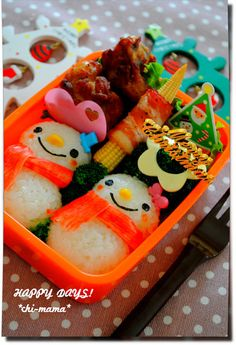 Snowman Bento: Lemon Pepper Chicken, Bacon and corn, coleslaw, and broccoli