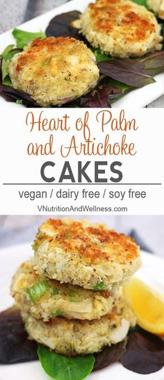 Heart of Palm and Artichoke Cakes | These Heart of Palm and Artichoke Cakes are a vegan take on crab cakes. Savory and delicious, these cakes make a great entree, appetizer or filling for a sandwich! vegan crab cakes, vegan recipe, vegan crab cake recipe via /VNutritionist/