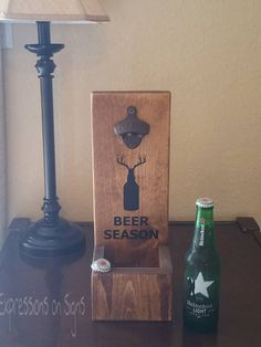 Rustic Wall Mount Bottle Opener and Cap Catcher, Personalized Hunter Anniversary Wood Gift for Him