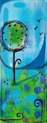 Apples, 20x40cm painting, acryl on canvas.