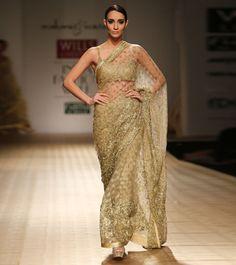 Rabani & Rakha Gold Net & Satin Saree With Bead Embroidered Blouse