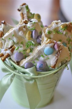 Bunny cookie bark. Makes a great Easter gift wrapped in cellophane and ribbon.