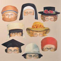 Party Pairs Masks - Masks - Mamelok Papercraft - Embossed, diecut Victorian scrap reliefs, cards, masks, cards, friezes, garlands, dress-up dolls