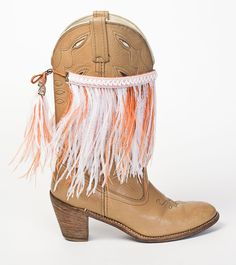 University of Texas Fan?  Wanda is the perfect BootDazzle for you - features burnt orange & white ostrich feathers. Order now & receive 50% OFF!