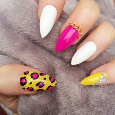 Doobys Thumb Middle Pinkie - White Yellow & Pink Leopard Print -