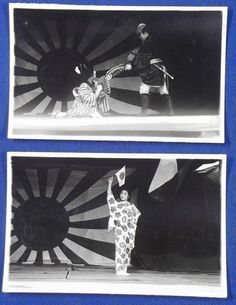 1940's Japanese Photo Cards : Playing Patriotic Wartime Drama at Some Local Army Regiment Festival / vintage antique old military war art card - Japan War Art