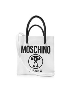 WHITE AND BLACK SIGNATURE LEATHER MINI TOTE W/SHOULDER STRAP MOSCHINO
