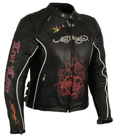 Ed Hardy True Love / Eternal Love Womens Leather Racer Jacket - Signature Ed Hardy embroidered graphics, CE certified hard armor, multiple vents and adjustable side buckles.  $379.95