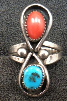 Vintage SOLID .925 Sterling Silver Turquoise Coral Artisan Navajo Ring Size 5 #J