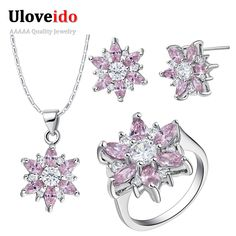Find More Jewelry Sets Information about Flower Jewelry Sets 925 Sterling Silver Wedding Necklace Earrings Rings Purple/Green/Yellow/Pink Crystal Jewelry Set Ulove T508,High Quality jewelry brooch,China jewelry night Suppliers, Cheap jewelry fancy from ULOVE Fashion Jewelry on Aliexpress.com